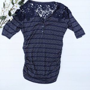 Motherhood Navy and Lace Knit Top